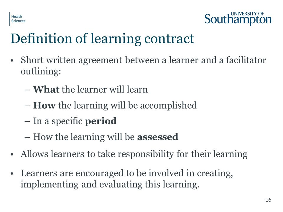 Definition of learning contract