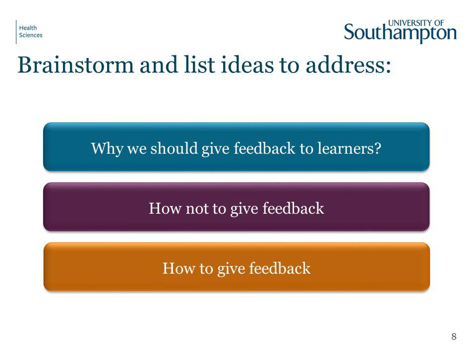 Brainstorm and list ideas to address: