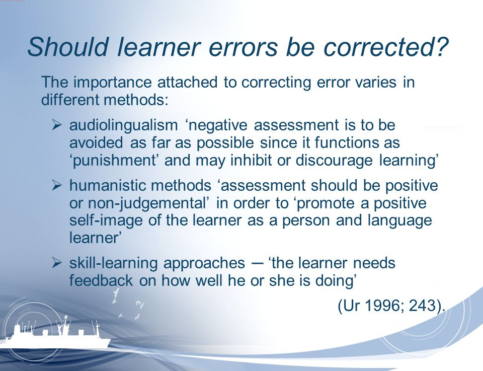 Should learner errors be corrected