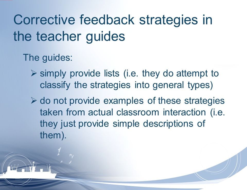 Corrective feedback strategies in the teacher guides