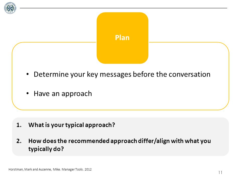 Determine your key messages before the conversation Have an approach