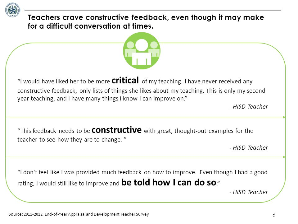 Teachers crave constructive feedback, even though it may make for a difficult conversation at times.