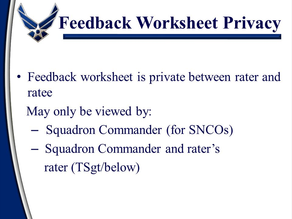 Feedback Worksheet Privacy