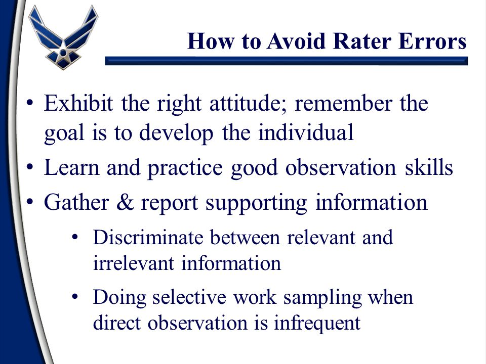 How to Avoid Rater Errors