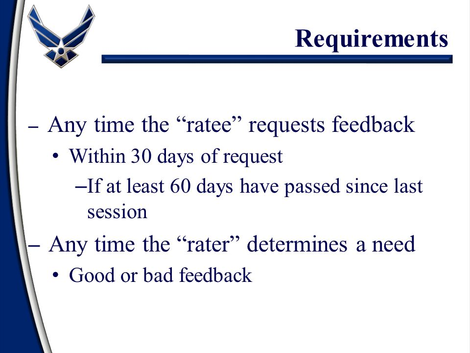 Requirements Within 30 days of request