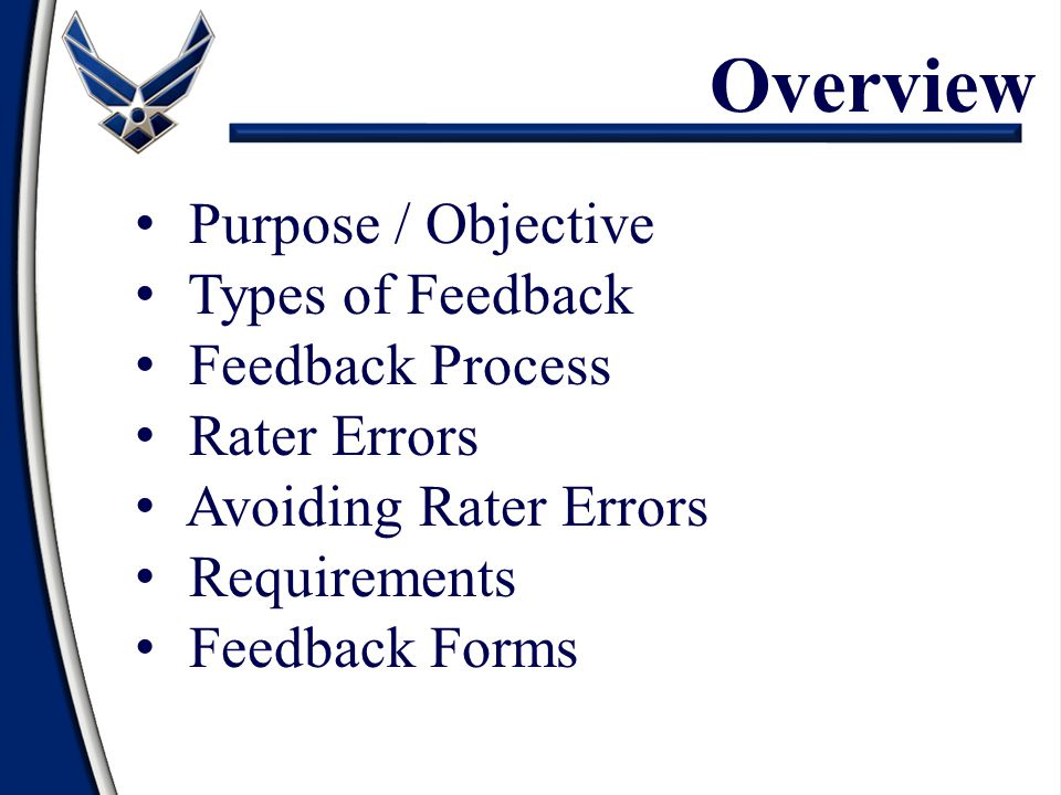 Overview Purpose / Objective Types of Feedback Feedback Process