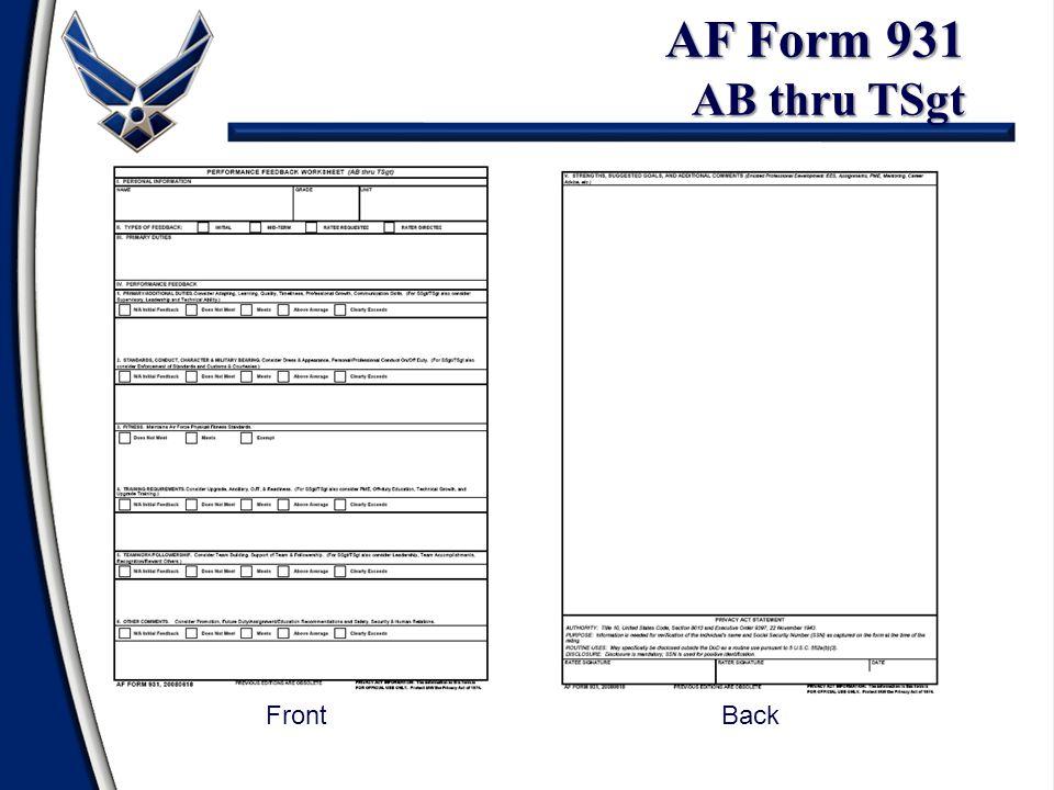 AF Form 931 AB thru TSgt Front Back