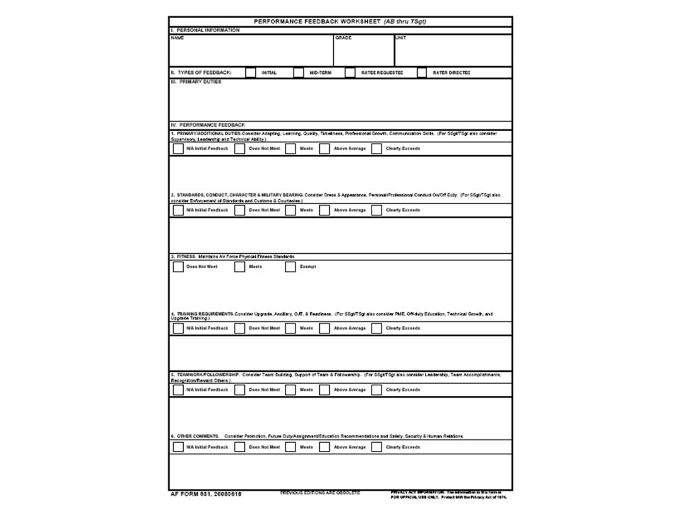 Here is the AF Form 931 for AB thru TSgt