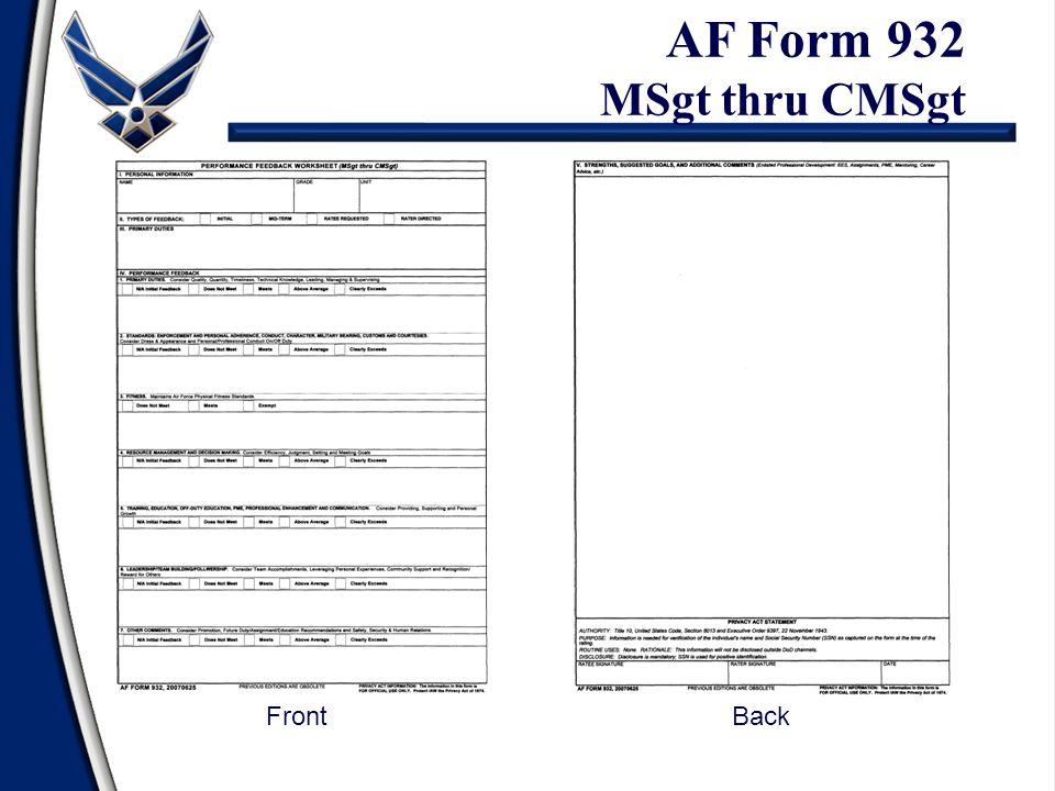 AF Form 932 MSgt thru CMSgt Front Back