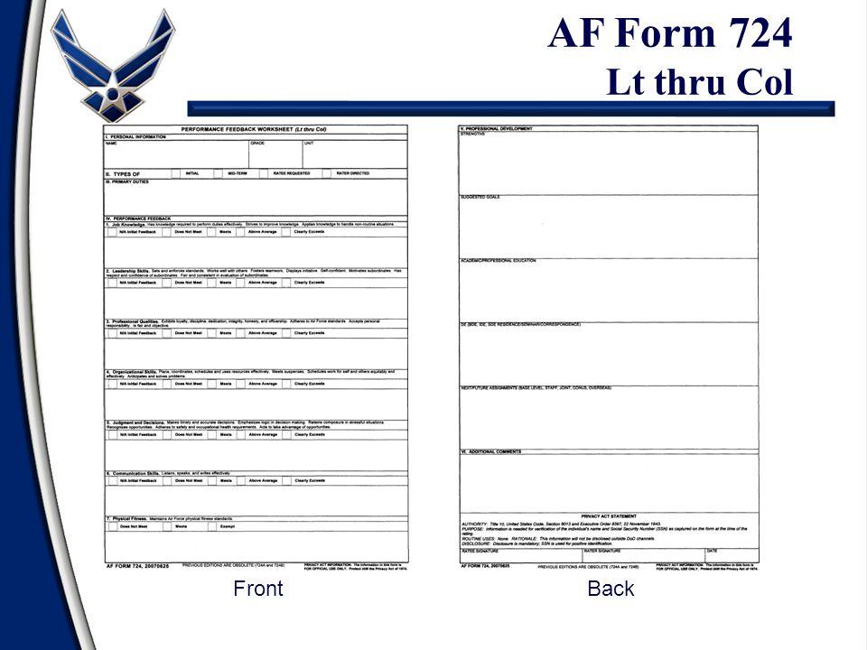 AF Form 724 Lt thru Col Front Back