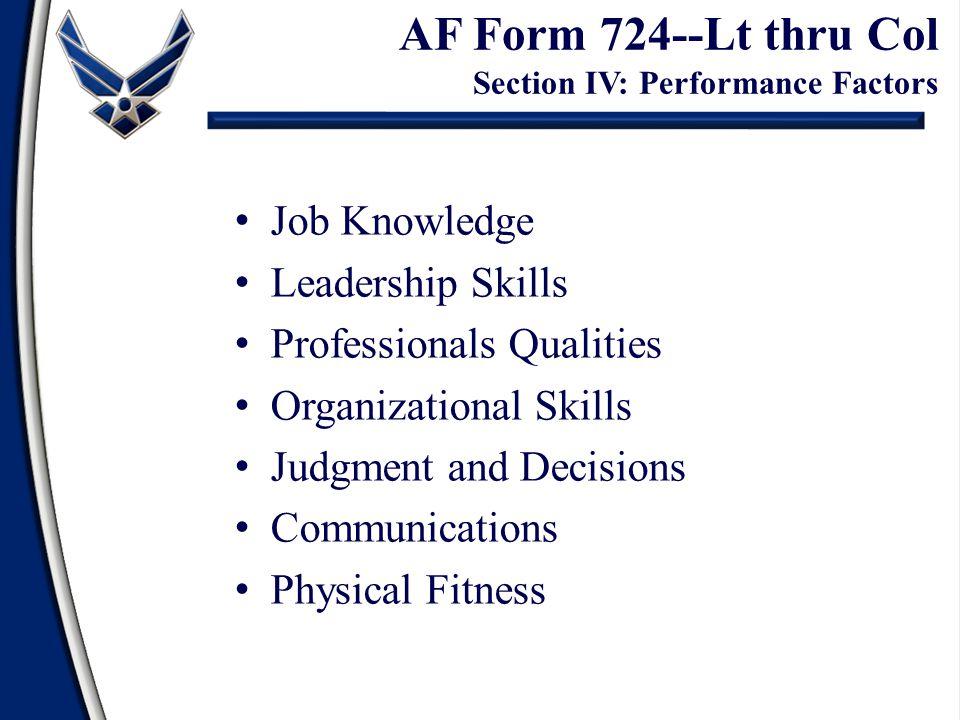 AF Form 724--Lt thru Col Section IV: Performance Factors
