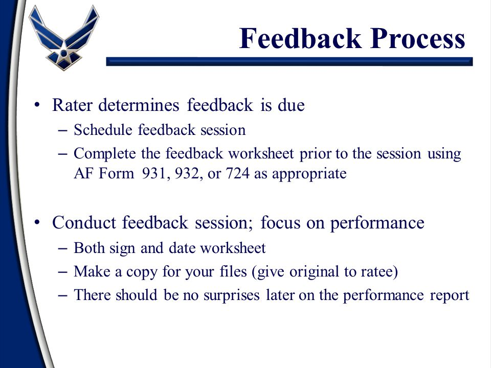 Feedback Process Rater determines feedback is due