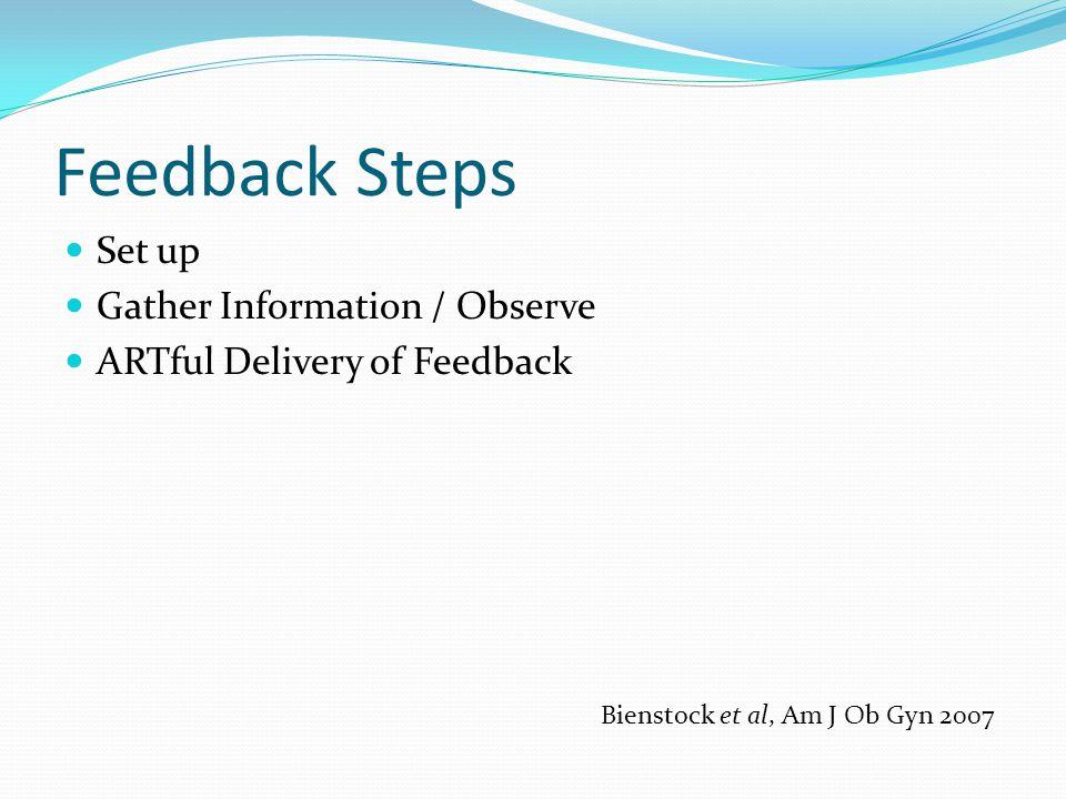 Feedback Steps Set up Gather Information / Observe