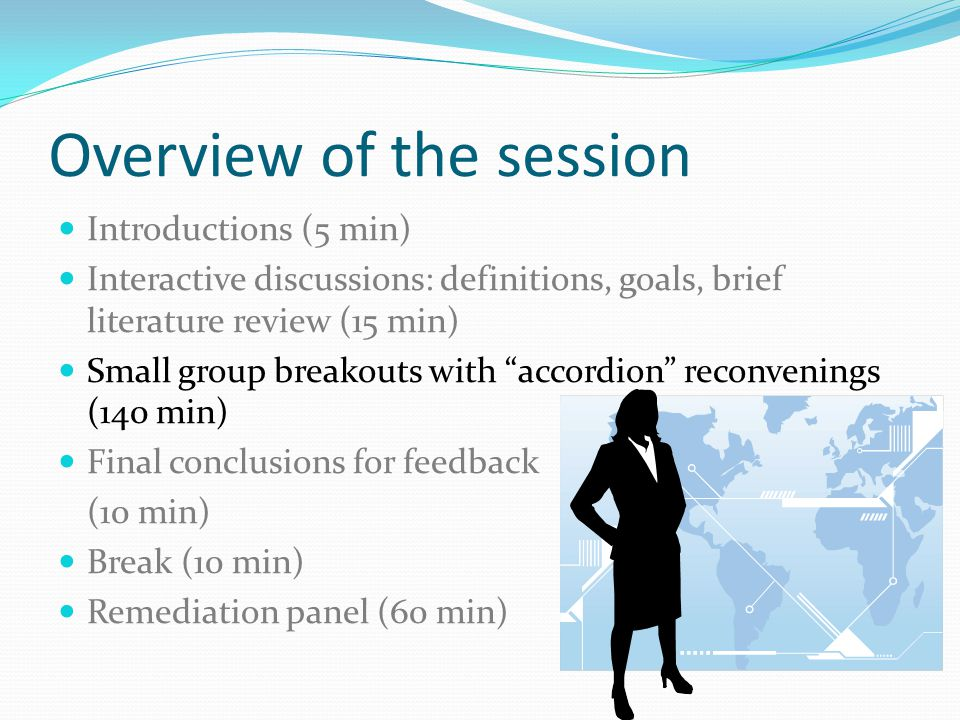 Overview of the session