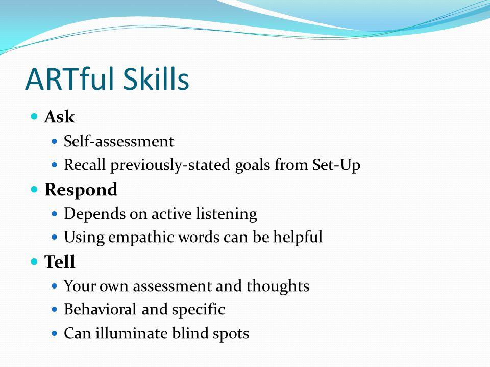 ARTful Skills Ask Respond Tell Self-assessment