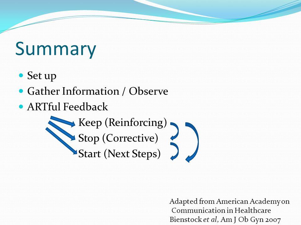 Summary Set up Gather Information / Observe ARTful Feedback