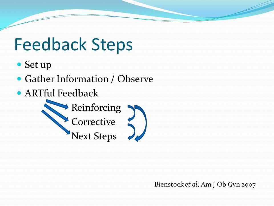 Feedback Steps Set up Gather Information / Observe ARTful Feedback