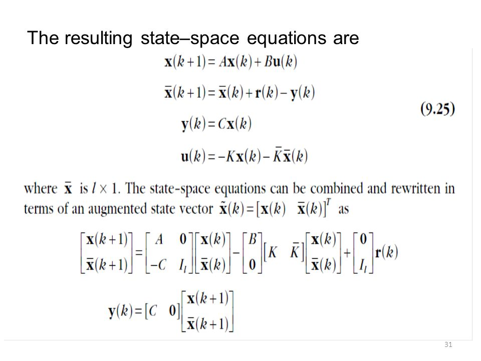 The resulting state–space equations are