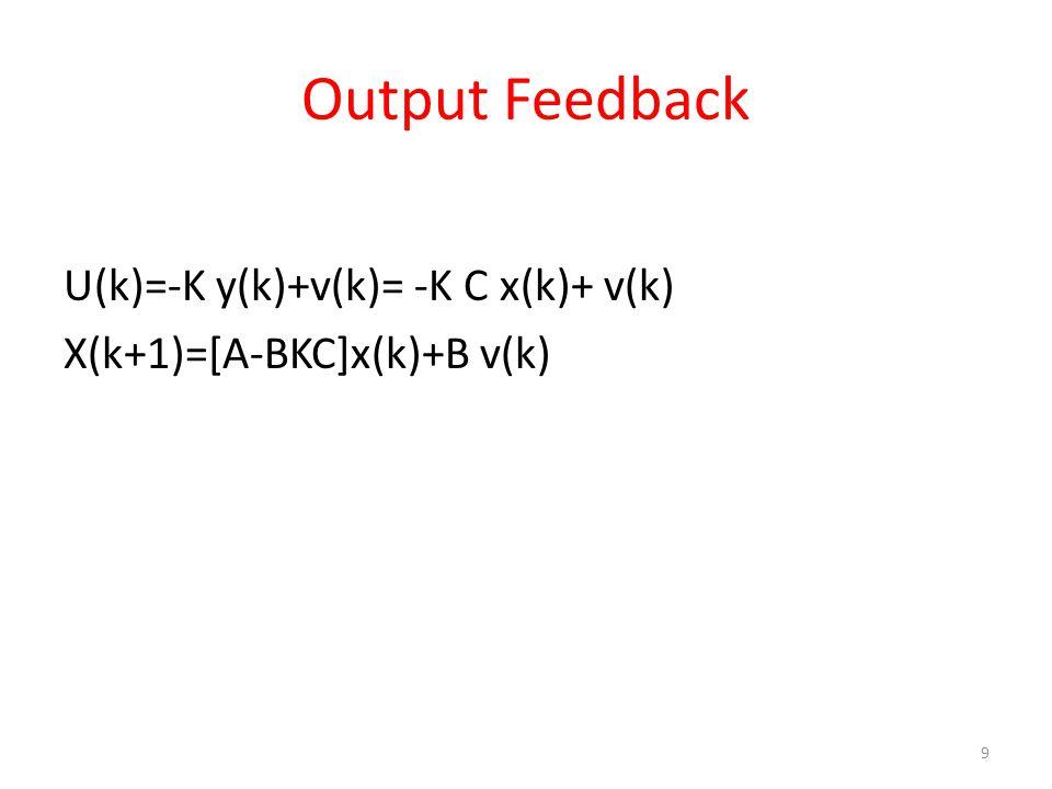 Output Feedback U(k)=-K y(k)+v(k)= -K C x(k)+ v(k)