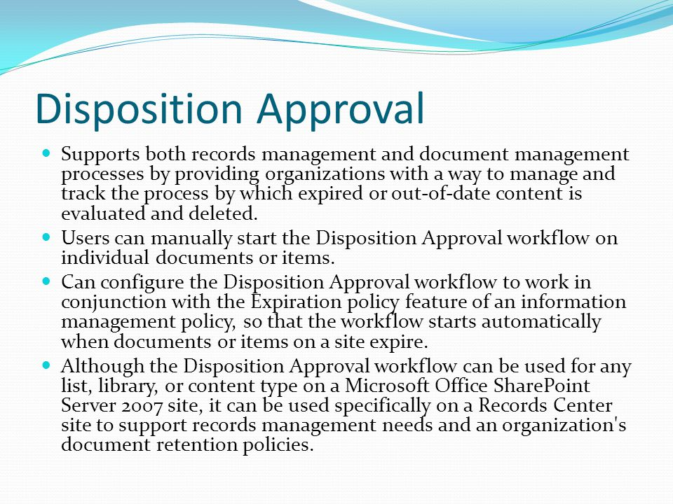 Disposition Approval