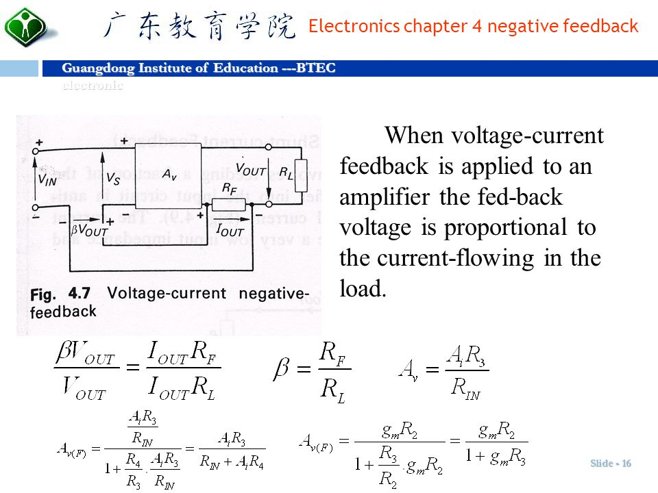 When voltage-current feedback is applied to an amplifier the fed-back voltage is proportional to the current-flowing in the load.