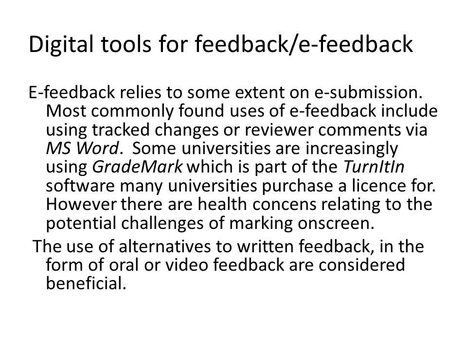 Digital tools for feedback/e-feedback