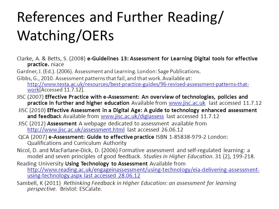 References and Further Reading/ Watching/OERs