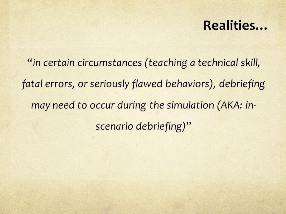 Realities…