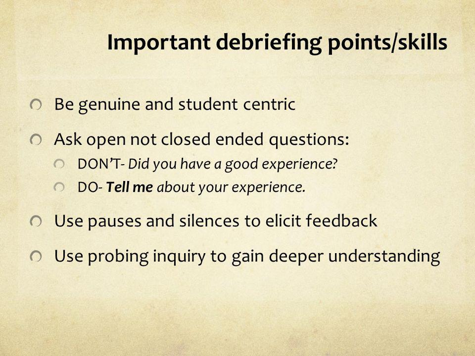 Important debriefing points/skills