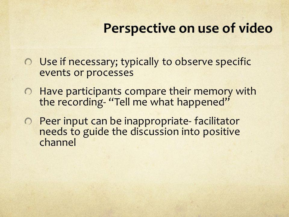 Perspective on use of video