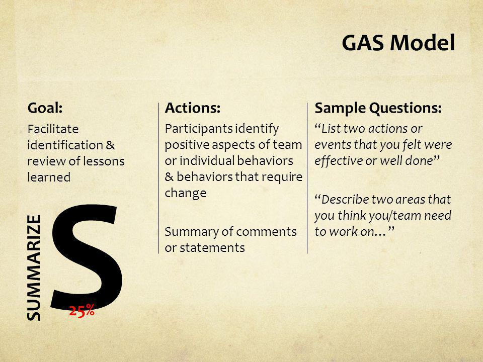 S GAS Model SUMMARIZE 25% Goal: Actions: Sample Questions: