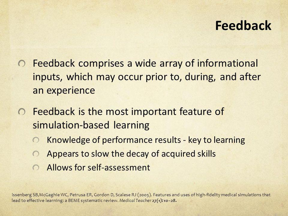 Feedback Feedback comprises a wide array of informational inputs, which may occur prior to, during, and after an experience.