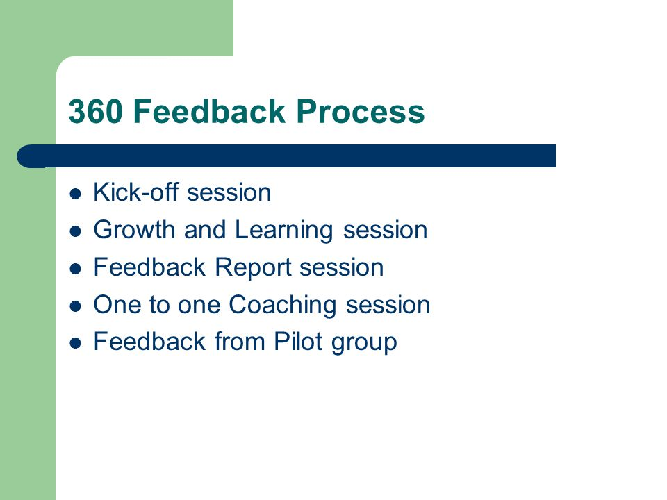 360 Feedback Process Kick-off session Growth and Learning session