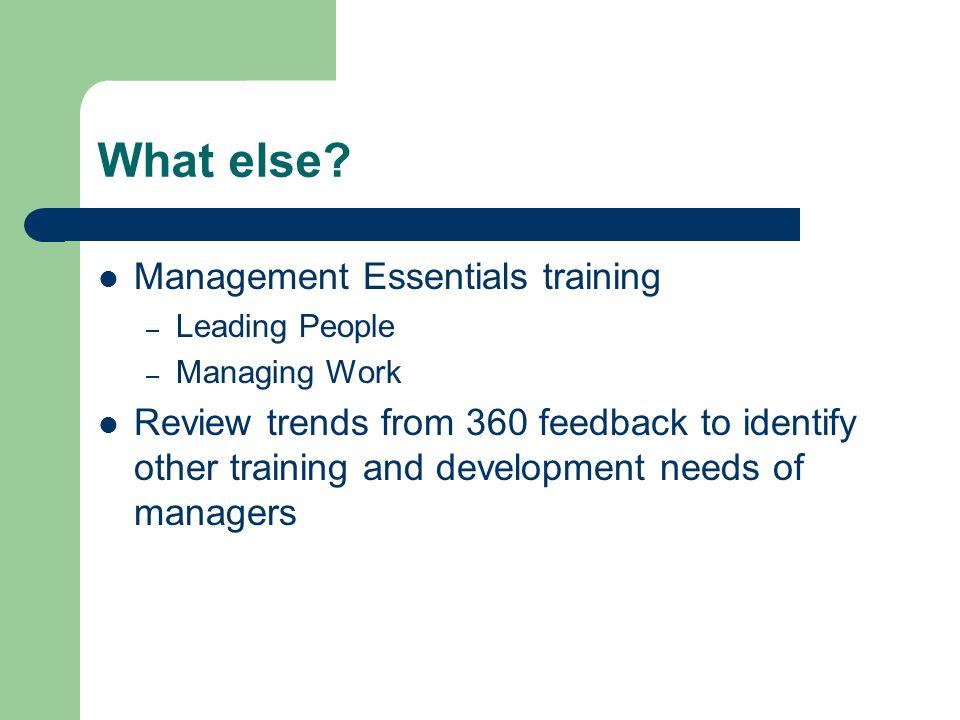 What else Management Essentials training