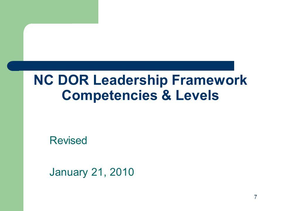 NC DOR Leadership Framework Competencies & Levels