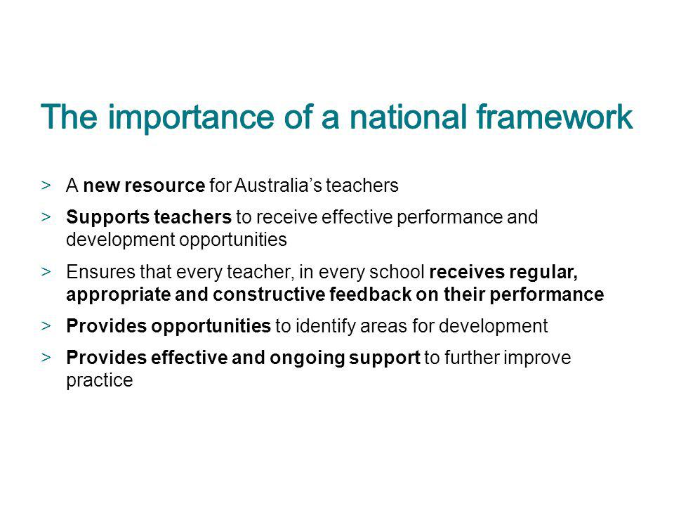 The importance of a national framework