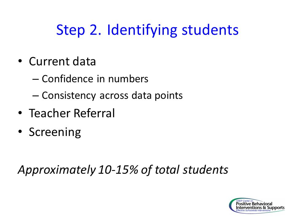 Step 2. Identifying students