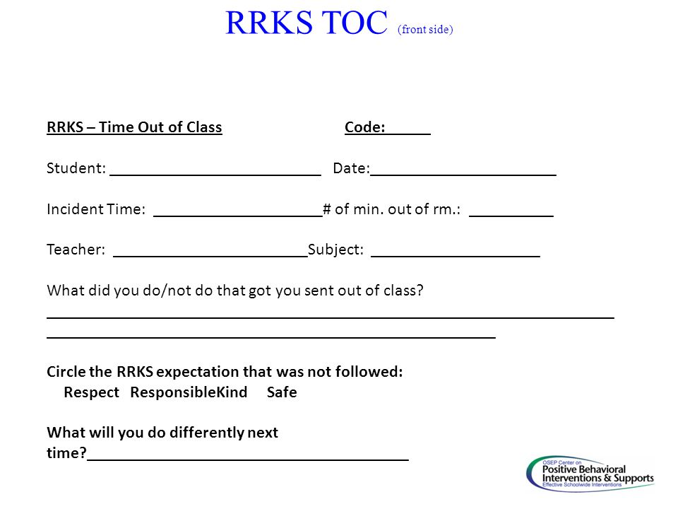 RRKS TOC (front side) RRKS – Time Out of Class Code: _____