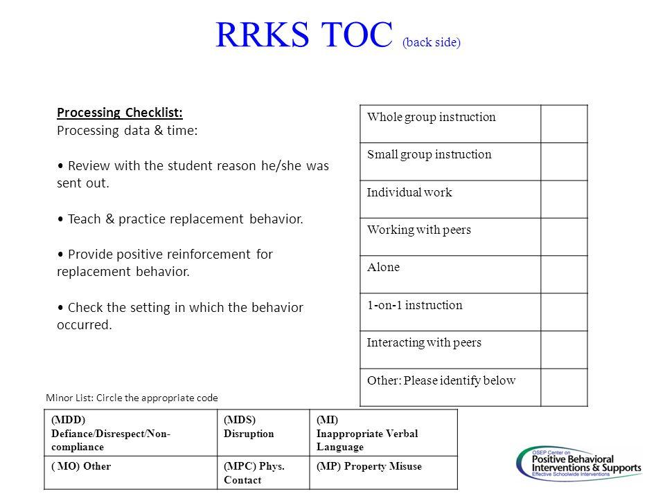 RRKS TOC (back side) Processing Checklist: Processing data & time: