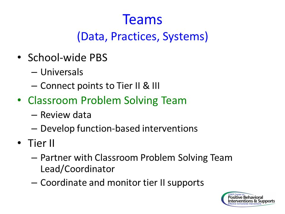 Teams (Data, Practices, Systems)
