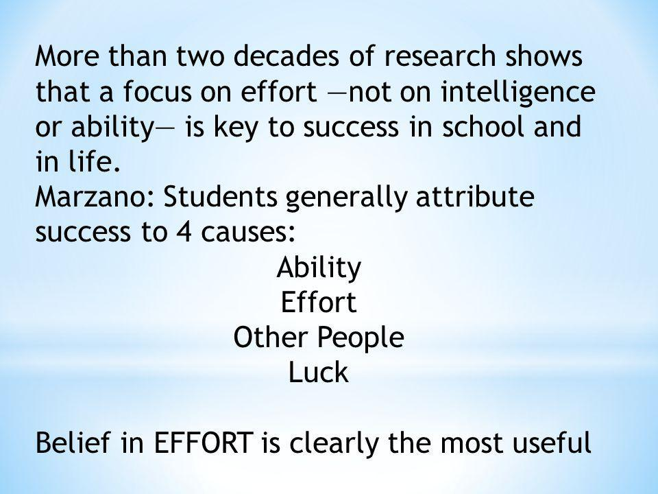 More than two decades of research shows that a focus on effort —not on intelligence or ability— is key to success in school and in life.