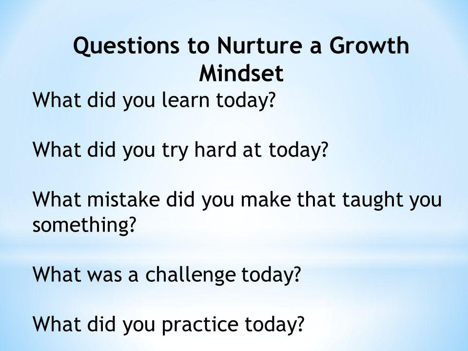 Questions to Nurture a Growth Mindset