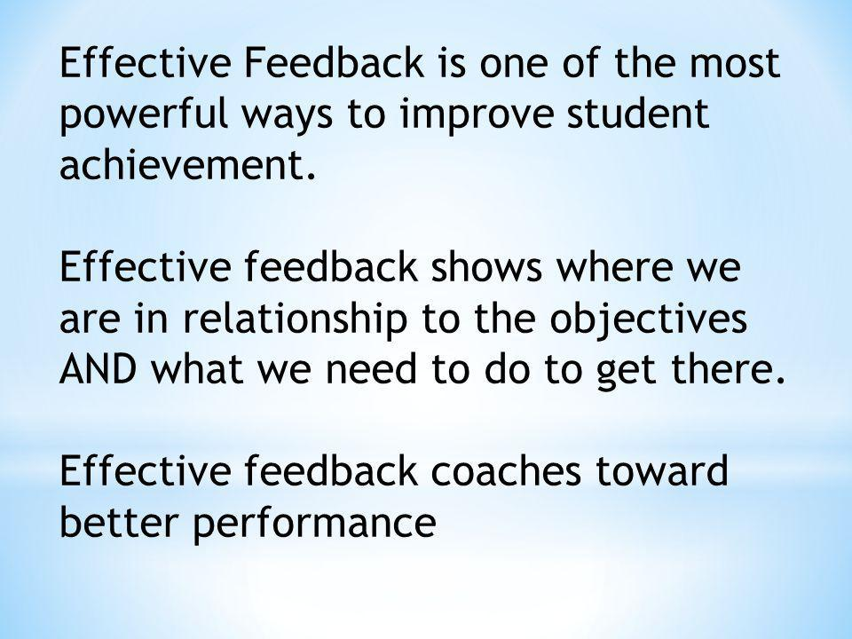 Effective Feedback is one of the most powerful ways to improve student achievement.