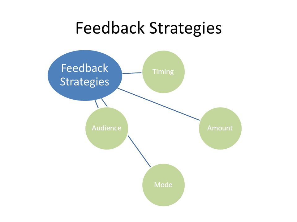 Feedback Strategies Feedback Strategies. Timing. Amount. Mode. Audience.