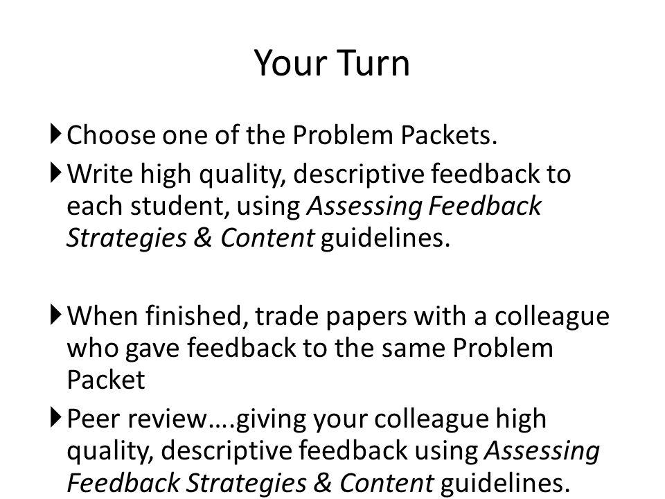 Your Turn Choose one of the Problem Packets.