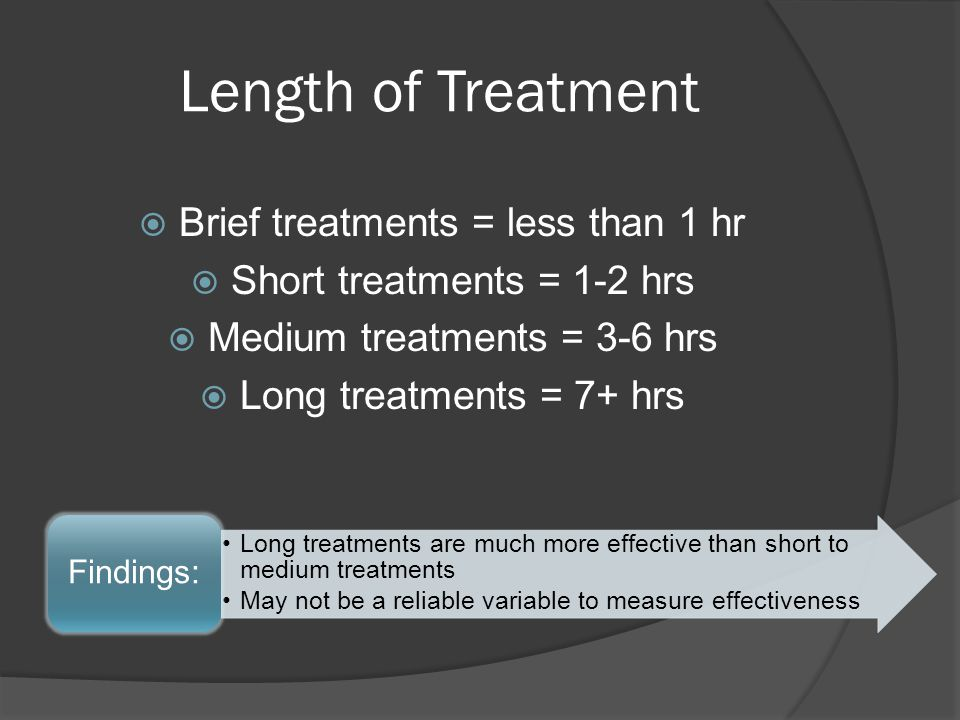 Length of Treatment Brief treatments = less than 1 hr