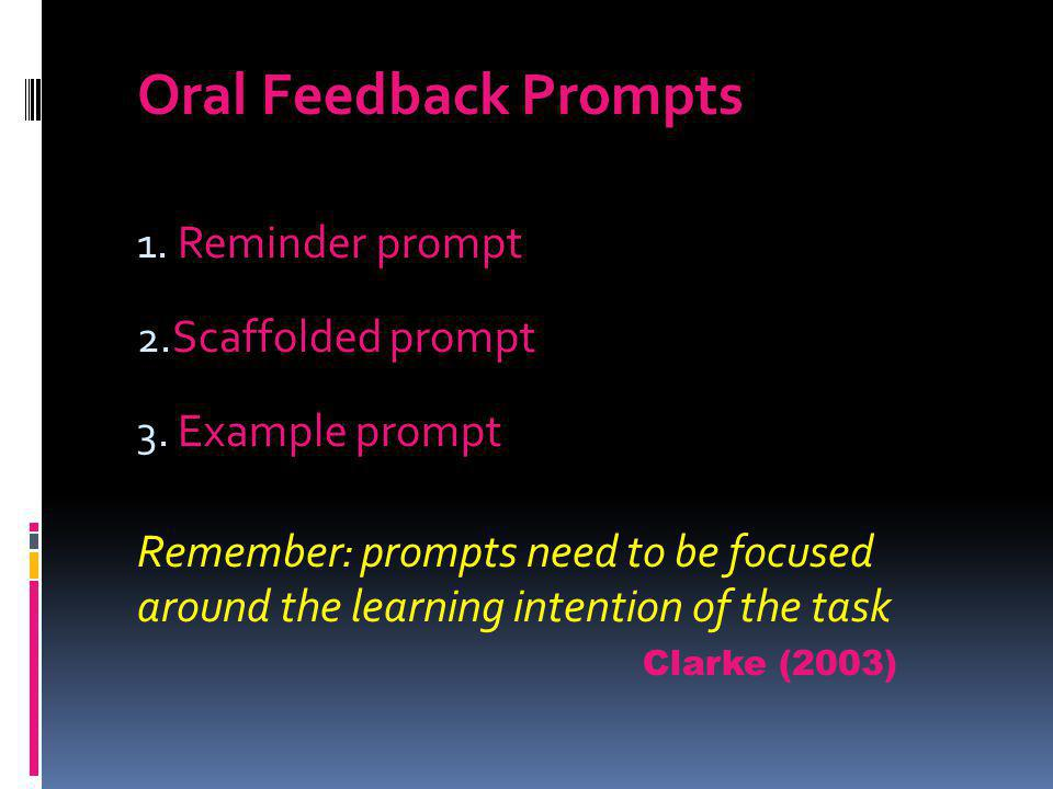 Oral Feedback Prompts Reminder prompt Scaffolded prompt Example prompt
