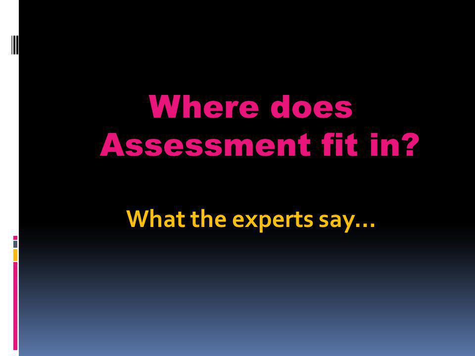Where does Assessment fit in