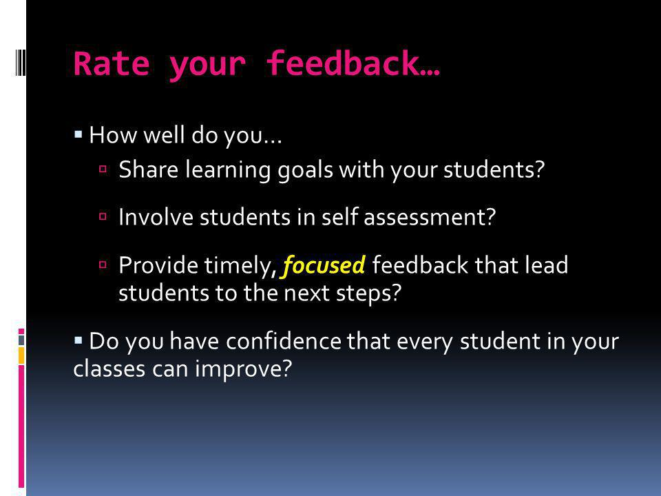 Rate your feedback… How well do you…