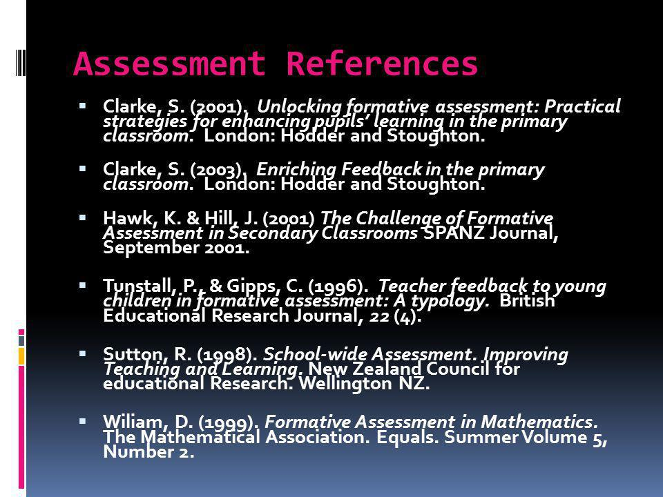 Assessment References